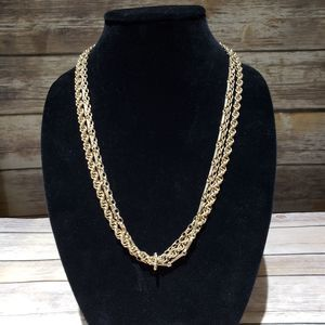 Vtg gold tone 3 tiered chain necklace